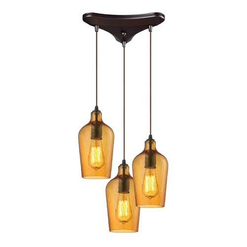 Elk Lighting Multi-Light Pendant Light with Amber Glass and 3-Lights 10331/3HAMB