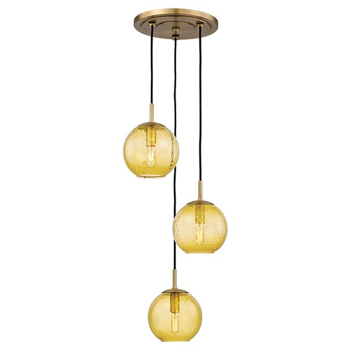 Hudson Valley Lighting Hudson Valley Lighting Rousseau Aged Brass Multi-Light Pendant with Globe Shade 2033-AGB-LA
