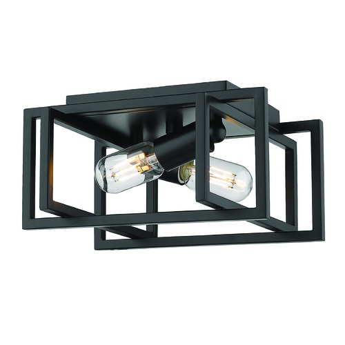 Golden Lighting Golden Lighting Tribeca Black Flushmount Light 6070-FMBLK-BLK