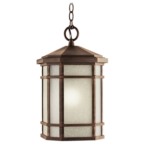 Kichler Lighting Kichler Outdoor Hanging Light with White Glass in Prairie Rock Finish 9511PR