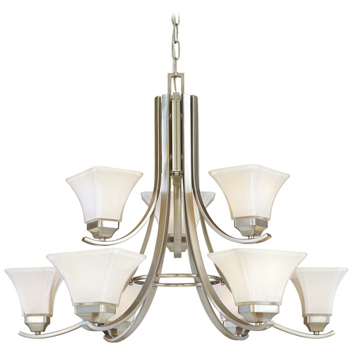 Minka Lavery Chandelier with White Glass in Brushed Nickel Finish 1818-84