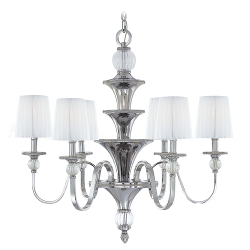 Metropolitan Lighting Chandelier with White Shades in Polished Nickel Finish N6610-613