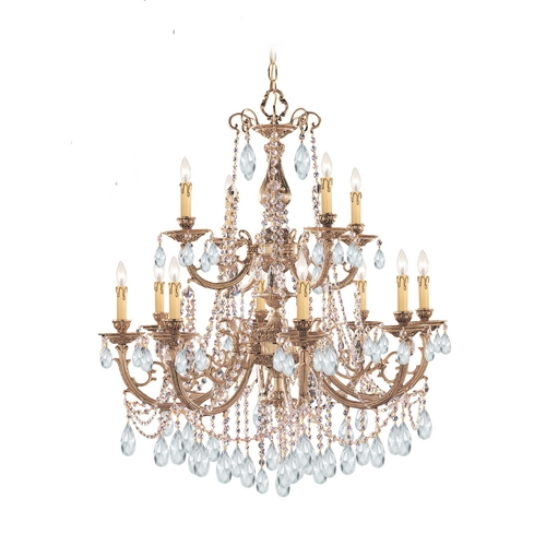 Crystorama Lighting Crystal Chandelier in Olde Brass Finish 479-OB-CL-S