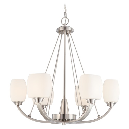 Nuvo Lighting Modern Chandelier with White Glass in Brushed Nickel Finish 60/4186