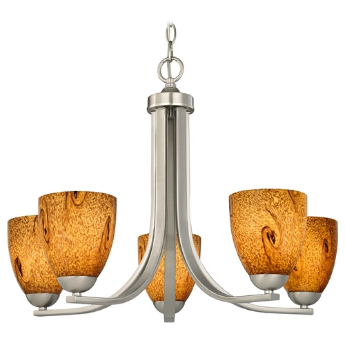 Design Classics Lighting Chandelier with Brown Art Glass in Satin Nickel Finish 584-09 GL1001MB