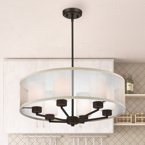 Design Classics Lighting Organza Drum Pendant Light Bronze 6-Light 1725-78
