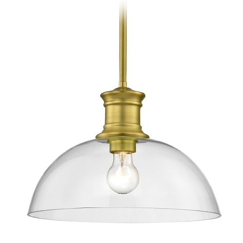 Design Classics Lighting Industrial Brass Pendant Light with Clear Glass 13-Inch Wide 1761-12 G1785-CL
