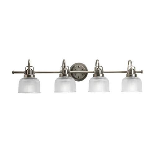 Progress Lighting Bathroom Light with Clear Glass in Antique Nickel Finish P2997-81
