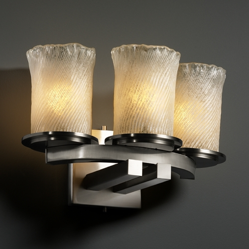 Justice Design Group Justice Design Group Veneto Luce Collection Bathroom Light GLA-8776-16-WHTW-NCKL