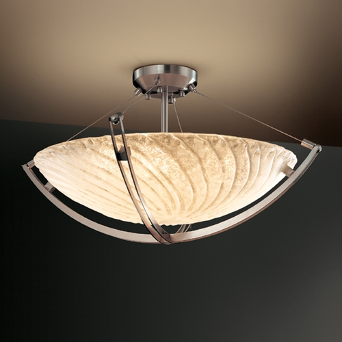 Justice Design Group Justice Design Group Veneto Luce Collection Semi-Flush Light GLA-9722-35-WHTW-NCKL