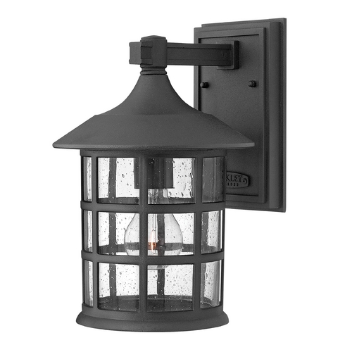 Hinkley Lighting Seeded Glass Outdoor Wall Light Black Hinkley Lighting 1804BK-GU24