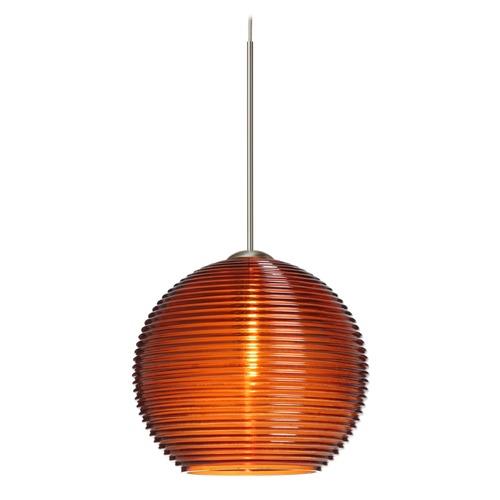 Besa Lighting Besa Lighting Kristall Satin Nickel Mini-Pendant Light with Globe Shade 1XT-461582-SN