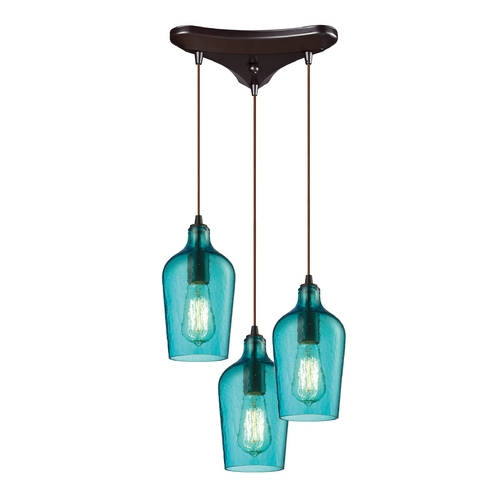 Elk Lighting Multi-Light Pendant Light with Green Glass and 3-Lights 10331/3HAQ