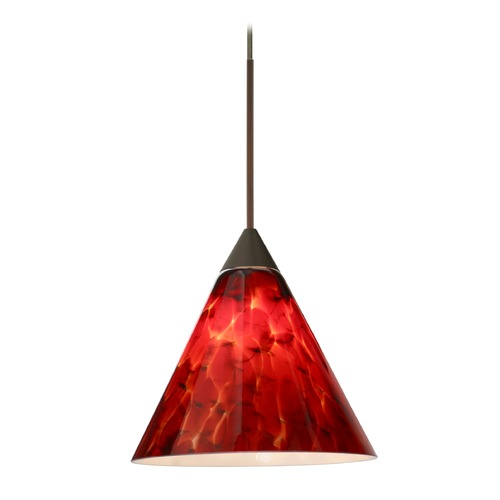 Besa Lighting Besa Lighting Kani Bronze LED Mini-Pendant Light with Conical Shade 1XT-512141-LED-BR