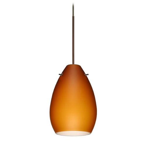 Besa Lighting Besa Lighting Pera Bronze LED Mini-Pendant Light with Oblong Shade 1XT-171380-LED-BR