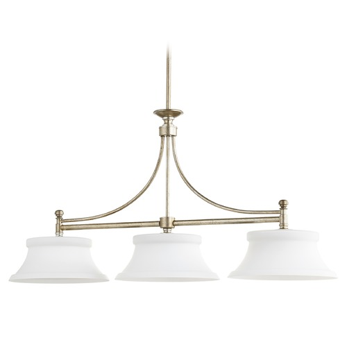 Quorum Lighting Quorum Lighting Rossington Aged Silver Leaf Island Light with Empire Shade 6522-3-60