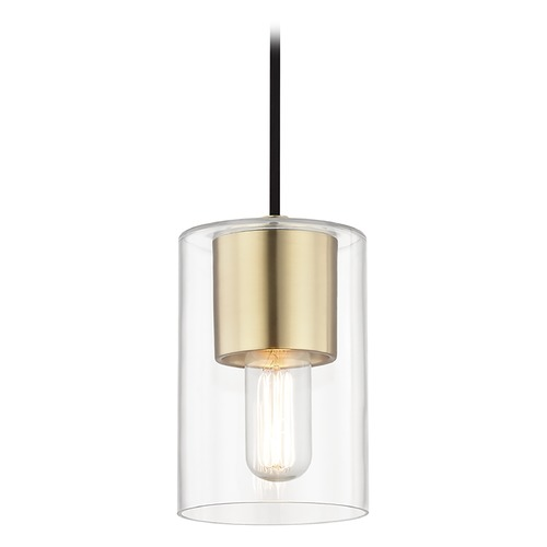 Hudson Valley Lighting Mid-Century Modern Mini-Pendant Light Brass Mitzi Lula by Hudson Valley H135701-AGB