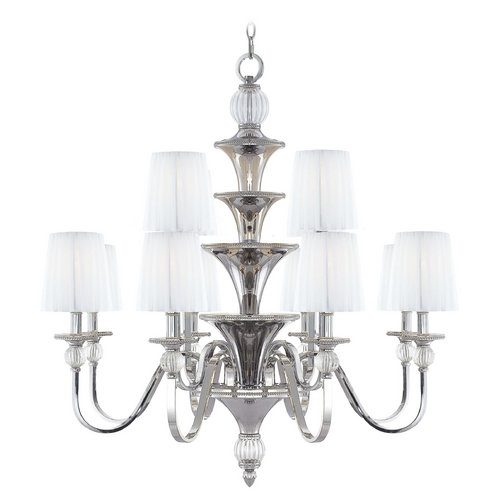 Metropolitan Lighting Chandelier with White Shades in Polished Nickel Finish N6611-613