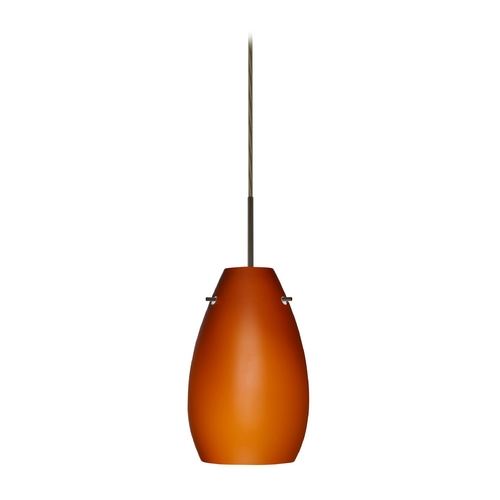 Besa Lighting Modern Pendant Light with Amber Glass in Bronze Finish 1JT-412680-BR