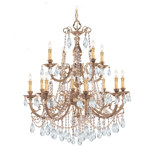 Crystorama Lighting Crystal Chandelier in Olde Brass Finish 479-OB-CL-SAQ