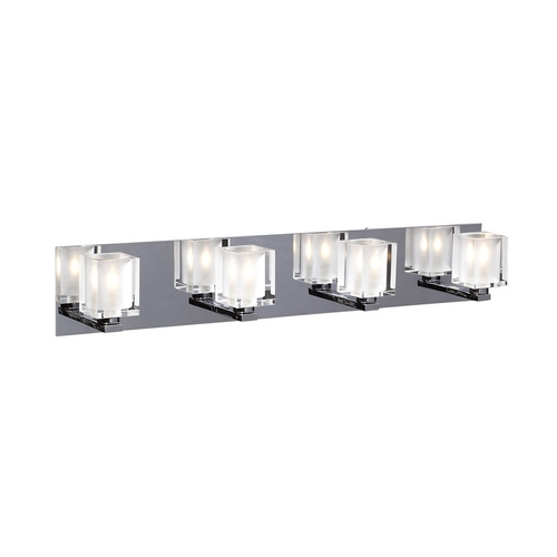PLC Lighting Modern Bathroom Light with Clear Glass in Polished Chrome Finish 3484 PC