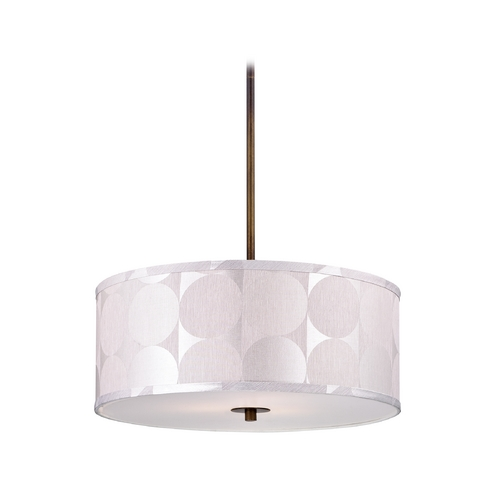 Design Classics Lighting Modern Drum Pendant Light with Silver Deco Shade DCL 6528-604 SH7558