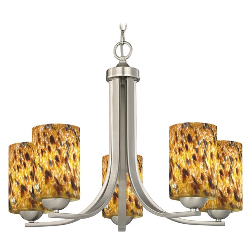 Design Classics Lighting Satin Nickel Chandelier 584-09 GL1005C