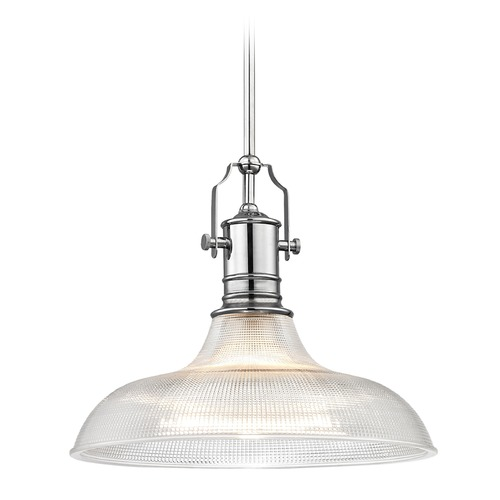 Design Classics Lighting Industrial Chrome Pendant Light Prismatic Glass 15.38-Inch Wide 1765-26 G1782-FC