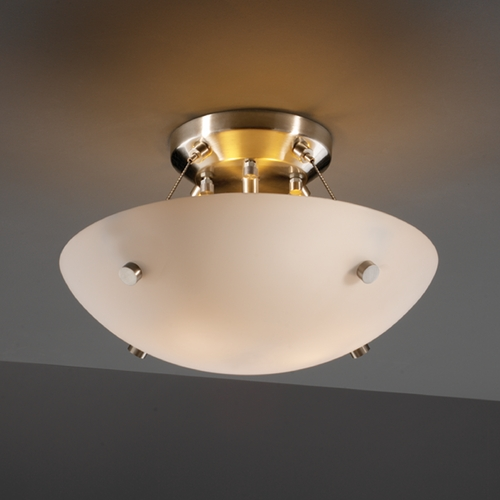 Justice Design Group Justice Design Group Fusion Collection Semi-Flushmount Light FSN-9650-35-OPAL-NCKL-F1