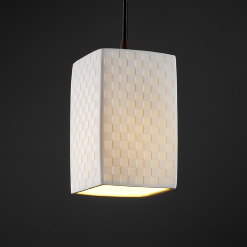 Justice Design Group Justice Design Group Limoges Collection Mini-Pendant Light POR-8816-15-CHKR-DBRZ