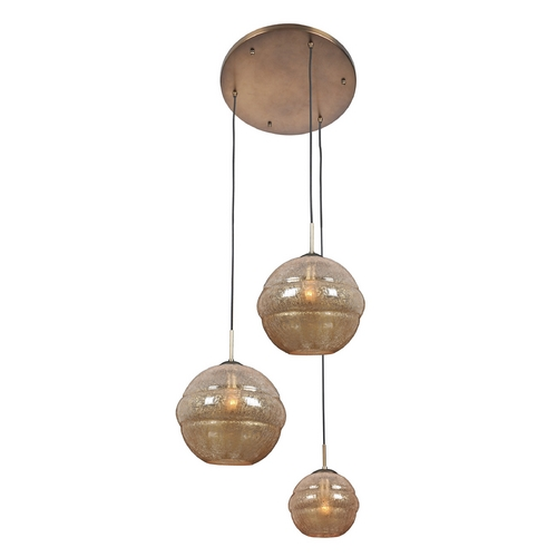 Kalco Lighting Kalco Lighting Celine Chemical Bronze Multi-Light Pendant with Globe Shade 7578CB