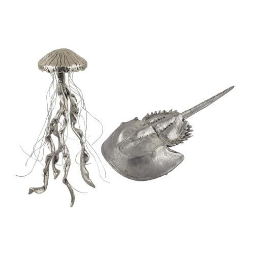 Dimond Home Hand Forged Silver Jelly Fish and Horseshow Crab - Set of 2 165-002/S2