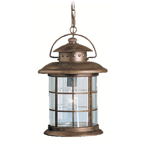 Kichler Lighting Kichler Outdoor Hanging Light with Clear Glass in Rustic Finish 9870RST