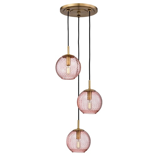 Hudson Valley Lighting Hudson Valley Lighting Rousseau Aged Brass Multi-Light Pendant with Globe Shade 2033-AGB-PK