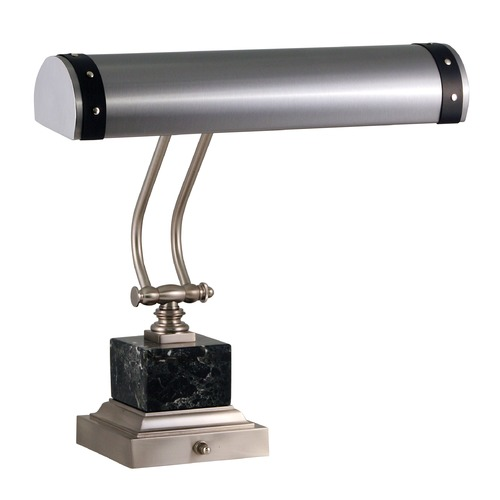 House of Troy Lighting House Of Troy Steamer Satin Nickel with Black Accents Piano / Banker Lamp P14-290-SNBLK