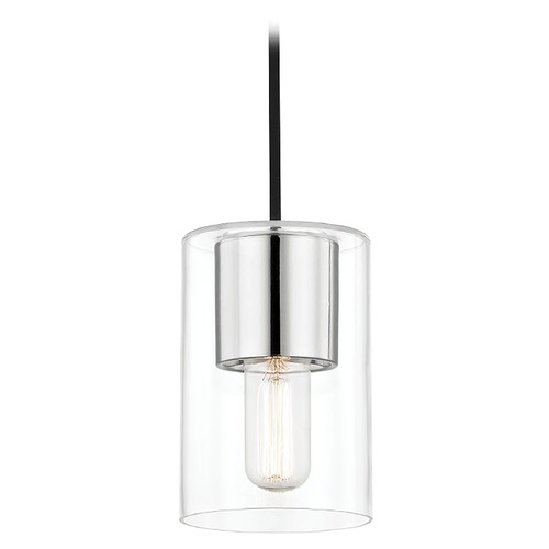 Mitzi by Hudson Valley Mid-Century Modern Mini-Pendant Light Polished Nickel Mitzi Lula by Hudson Valley H135701-PN