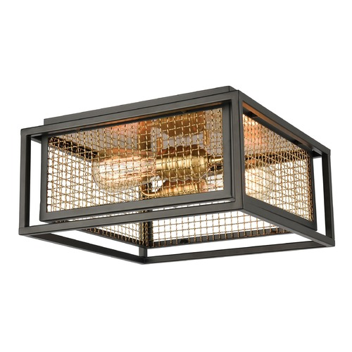 Elk Lighting Elk Lighting Jarvis Matte Black, Burnished Brass Flushmount Light 46374/2