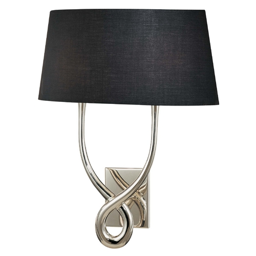 George Kovacs Lighting Modern Sconce Wall Light with Black Shades in Silver Plated Finish P294-00-634