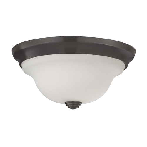 Feiss Lighting Flushmount Light with White Glass in Oil Rubbed Bronze Finish FM360ORB