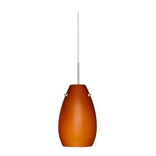 Besa Lighting Modern Pendant Light with Amber Glass in Satin Nickel Finish 1JT-412680-SN