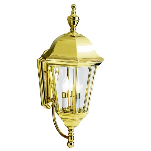 Kichler Lighting Kichler Outdoor Wall Light with Clear Glass in Polished Brass Finish 9489PB