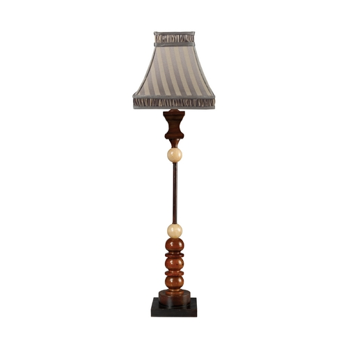 Sterling Lighting Table Lamp with Multi-Color Shade in Cimmaron Wood and Cream Marble Finish 93-9135