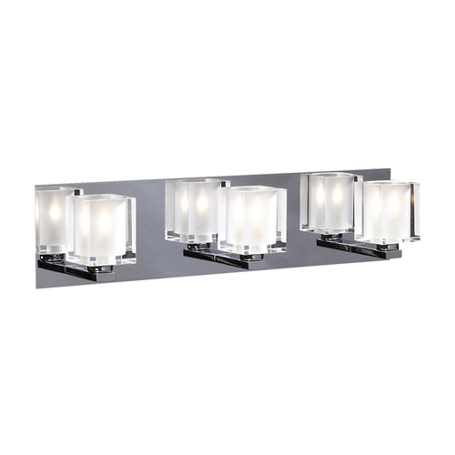 PLC Lighting Modern Bathroom Light with Clear Glass in Polished Chrome Finish 3483 PC