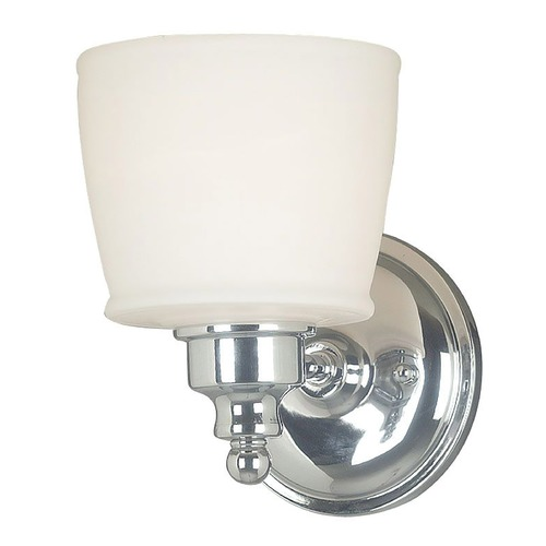 Kenroy Home Lighting Modern Sconce Wall Light with White Glass in Chrome Finish 91701CH