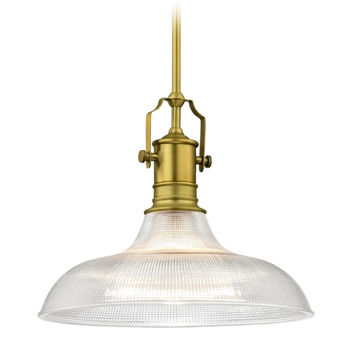 Design Classics Lighting Farmhouse Industrial Pendant Light Prismatic Glass Bronze 15.38-Inch Wide 1765-12 G1782-FC