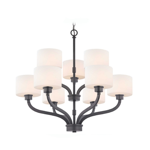 Dolan Designs Lighting Two-Tier Chandelier with White Glass Drum Shades in Bronze Finish 1262-46