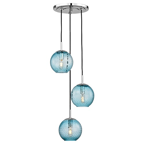 Hudson Valley Lighting Hudson Valley Lighting Rousseau Polished Chrome Multi-Light Pendant with Globe Shade 2033-PC-BL