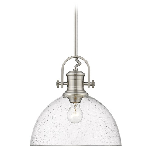 Golden Lighting Golden Lighting Hines Pewter Pendant Light with Seeded Dome Shade 3118-LPW-SD