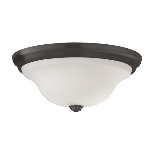 Home Solutions by Feiss Lighting Flushmount Light with White Glass in Oil Rubbed Bronze Finish FM361ORB