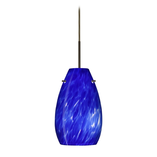 Besa Lighting Modern Pendant Light Blue Glass Bronze by Besa Lighting 1JT-412686-BR